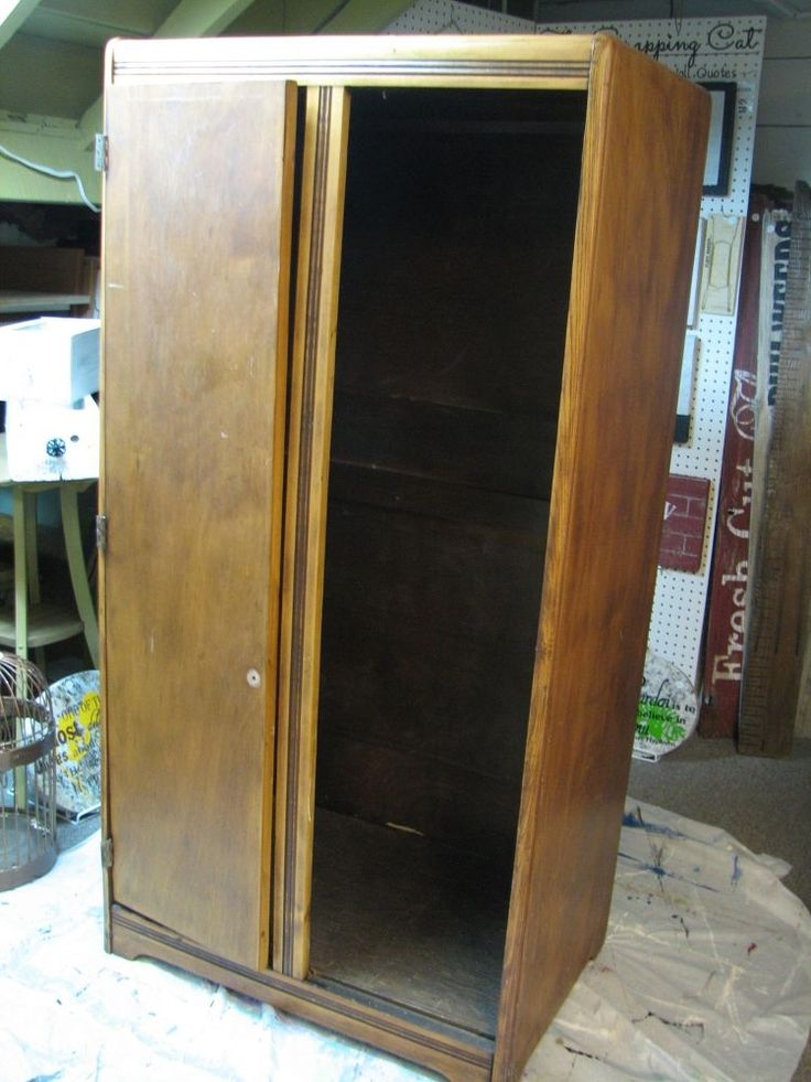 We found this antique clothes armoire at an estate sale for $5.00. After it sitting in my basement for almost a year, I decided to turn it into a craft cabinet.…