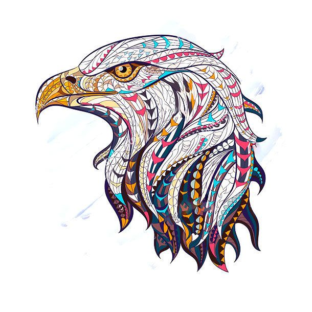 Impressive ethnic eagle head. Style: Abstract. Tags: Best, Amazing, Beautiful