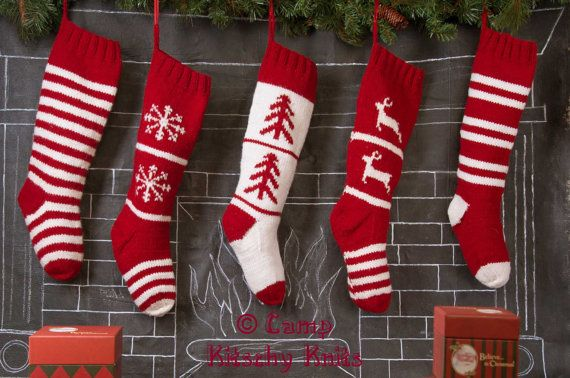 Set of 5 Knitted Christmas Stocking /  Hand Knitted / Red White collection on Etsy, $225.00