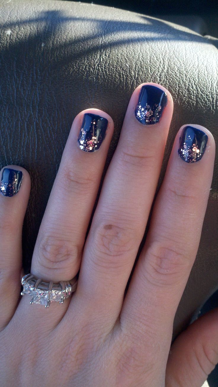 Week two Navy with Essie Pink Sparkle Lux Effects 1 . Gel primor than cure under lamp 2  Color  3 Gel top coat and cure under lamp 4 top Essie Sparkle coat  5 Gel top coat and cure. Wipe all nails with Alcohol pads.