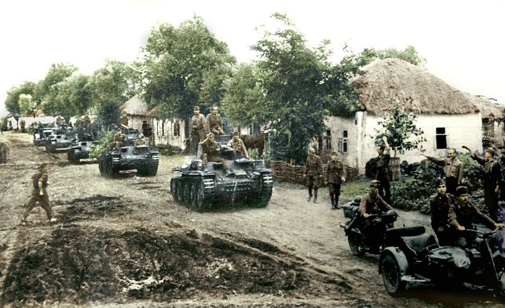 The Hungarian Royal Tank Regiment 30th Pz 38 medium tanks pass through a Russian village, 22 July 1942. My colored picture.