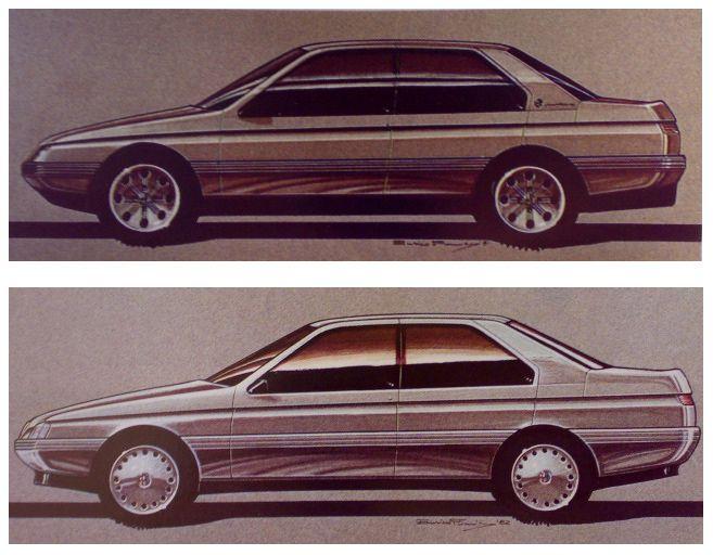 OG | Alfa Romeo 164 | Design sketches by Enrico Fumia