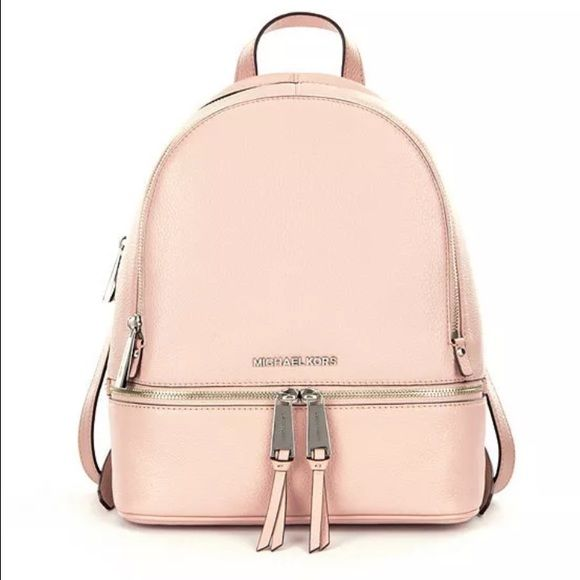 Michael Kors backpack w silver detail, blush pink Michael Kors Rhea Bag  backpack, $258
