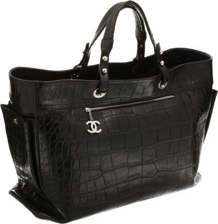 Chanel Limited Edition Matte Black Crocodile Paris-Biarritz Oversize Travel Bag