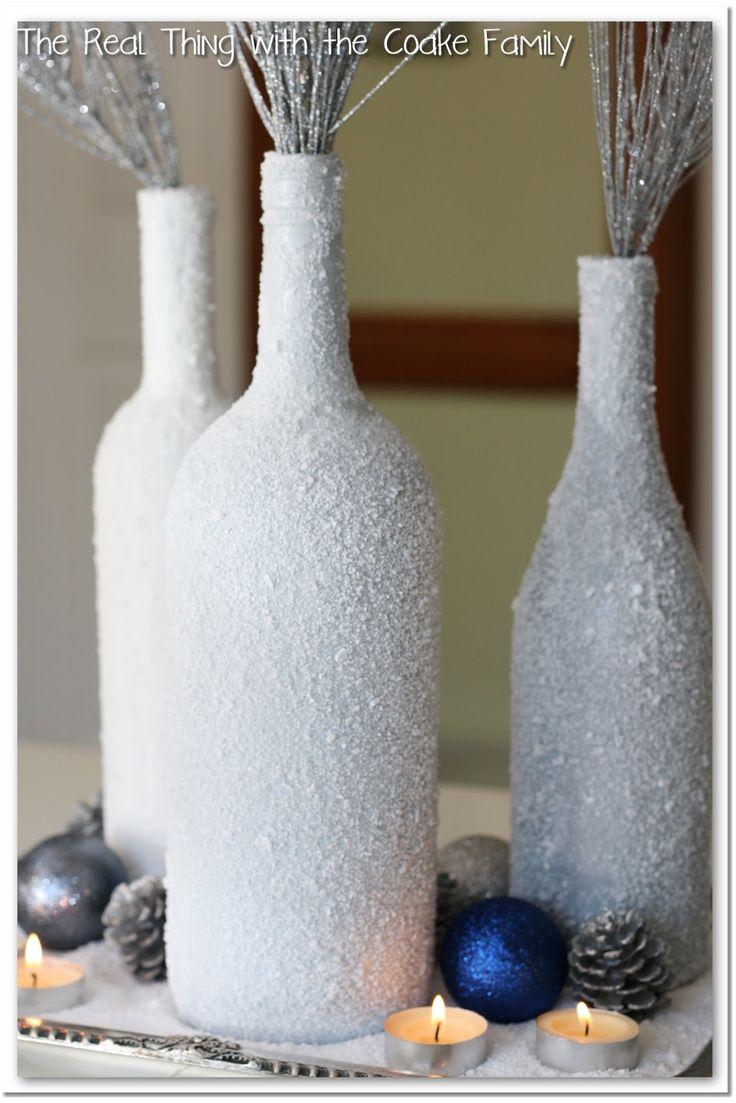 Winter Centerpiece from wine bottles and epsom salt #centerpiece @realcoake