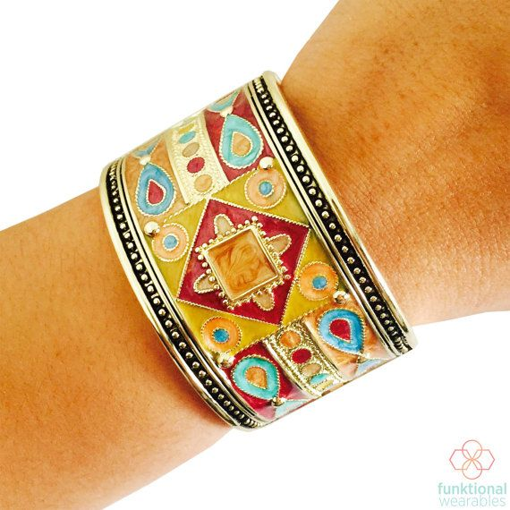 Fitbit Bracelet for Fitbit Flex or Flex 2 Fitness Activity Trackers - The AJAH Colorful Enamel and Gold Hinge Bangle Bracelet - FREE U.S. and Canada SHIPPING This gold Fitbit Bracelet is very globally inspired with its colorful enamel details. The rich colors are the centerpiece of this gold hinge bangle bracelet. This Fitbit bracelet is so versatile and can be worn with any outfit, seamlessly taking you from a day at the office to a night out. The perfect Fitbit Accessory to hide your…
