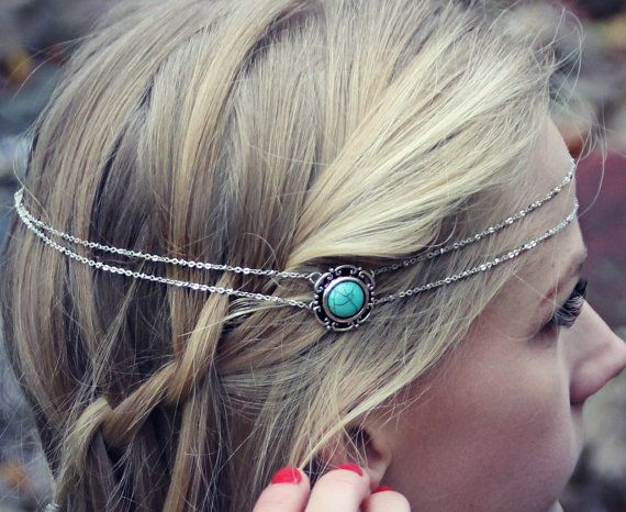 silver and turquoise head piece chain headband by alapopjewelry