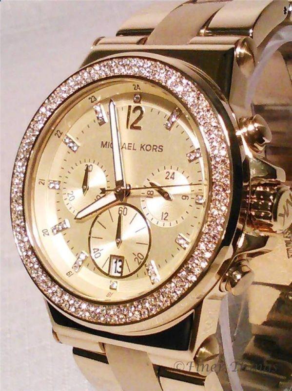 Michael Kors MK5386 Chrono Swarovski Crystal Glitz Gold Tone Womens Watch