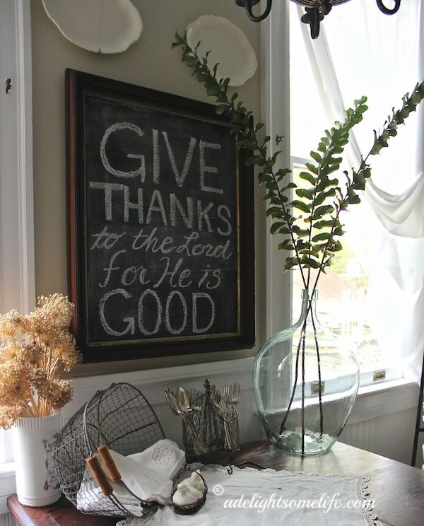 Thanksgiving quote for November on the chalkboard in my French Farmhouse kitchen adelightsomelife.com