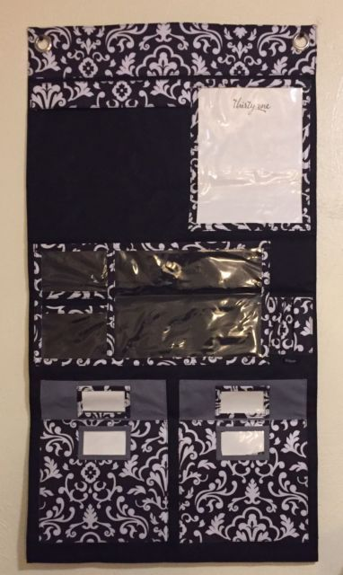 Thirty One Home/Office Wall Hanging Organizer Black & White Print | eBay