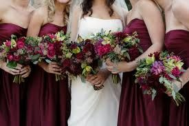 Burgandy Dresses and Flowers