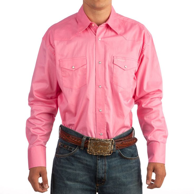WRANGLER TETWP Bright PINK MENS SHIRT SNAPS  Western Cowboy Rodeo NWT  XLT #wrangler #Western