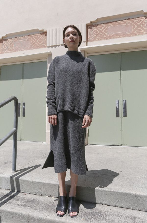 Objects Without Meaning Fitted Skirt in Grey