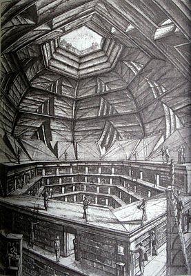 Illustrations by Erik Desmaziéres to 'La Biblioteca de Babel' (written by Jorge Luis Borges)