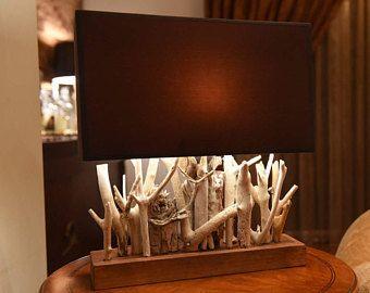Lampe de table bois flotté bois flotté éclairage décor de plage