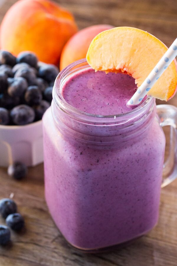 This blueberry peach smoothie with almond milk is dairy free, naturally sweetened & so delicious. Fresh summer fruit. 4 ingredients & perfectly refreshing!