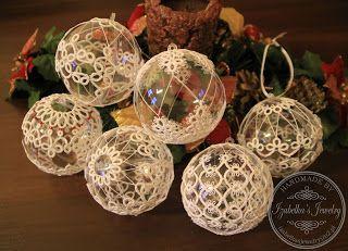 Frywolitkowe bombki polandhandmade.pl   #polandhandmade , #frywolitka, #tatting #izabelkasjewelry #ball #christmas #frywolitkowe #bombki #bożenarodzenie