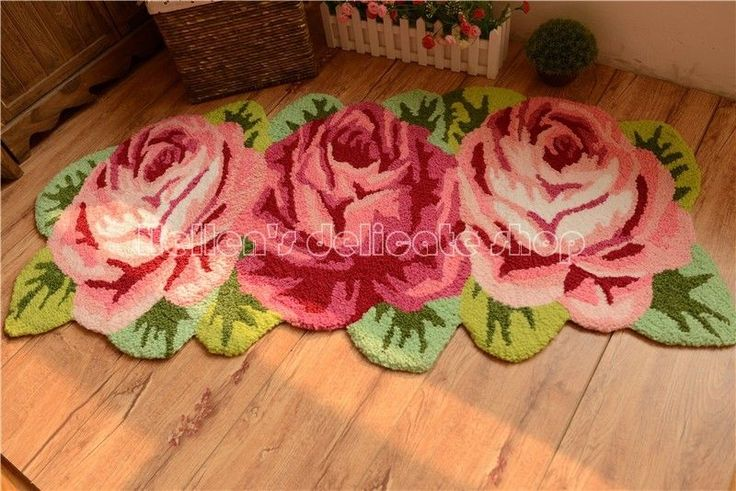 French Country Shabby Floral Chic Pink Rose Bath Rug Floor/Door Mat Runner I005 #FrenchCountry