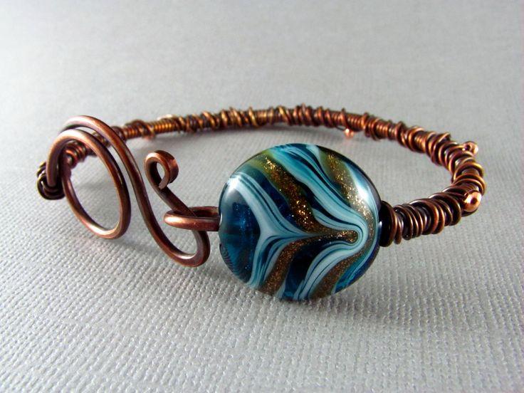 Wire Wrap Bracelet Copper Bracelet Handmade Art Jewelry Wire Wrapped Jewelry Copper Bangle. $28.00, via Etsy.