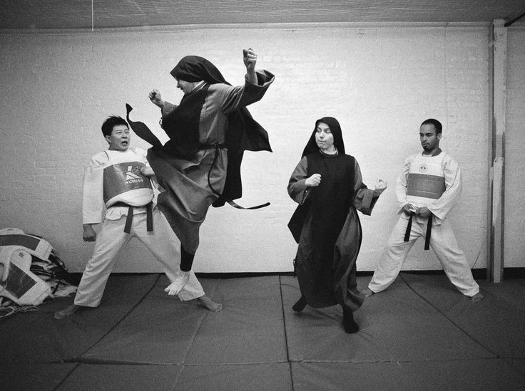 """livelymorgue: Jan. 20, 1994: """"Time Out From a Higher Calling"""" (Tae Kwon Do NUNS people! -kjc)"""