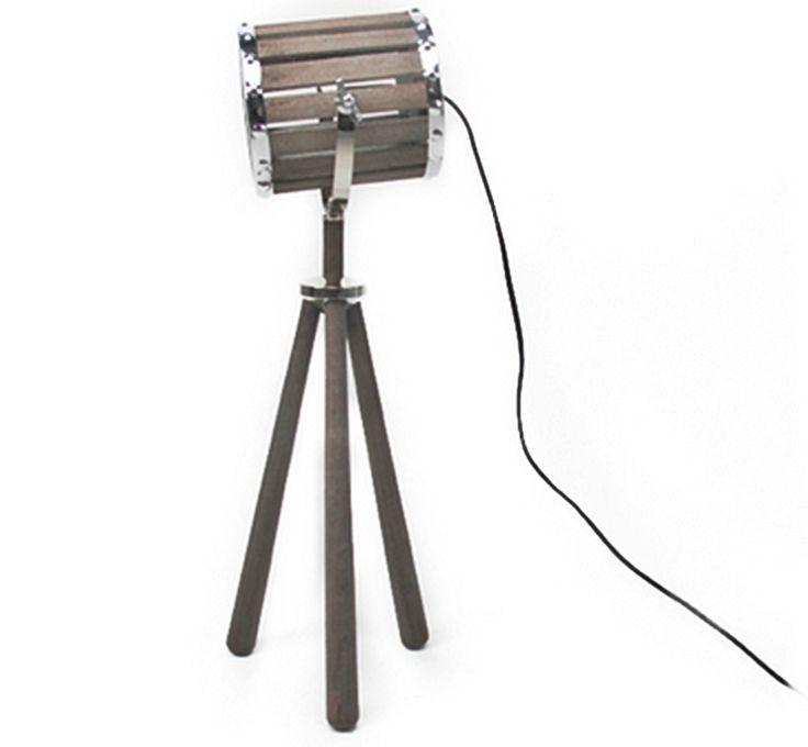 The Gecko Shack - Distressed Timber tripod table lamp w/ Spotlight 70cm high, $98.00 (http://www.geckoshack.com.au/distressed-timber-tripod-table-lamp-w-spotlight-70cm-high/)