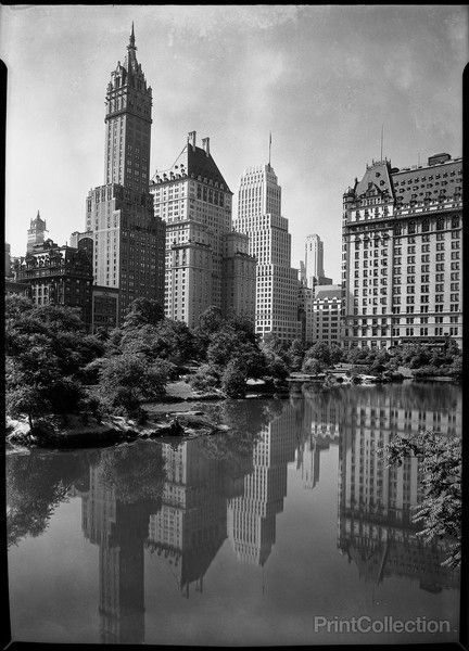 PrintCollection - NYC. Corner of Fifth Avenue and 59th Street from Central Park's Pond. May 1933.
