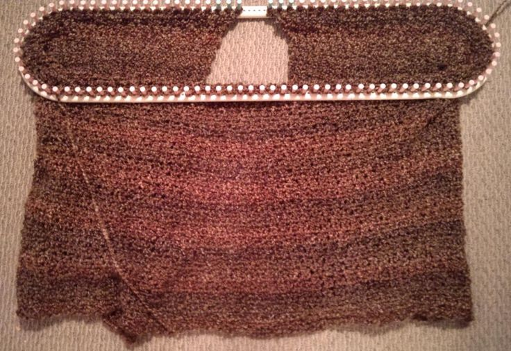 Loom knit throw in progress - largest configuration possible on Martha Stewart Loom using Homespun Lion Brand in Barley #imadethis