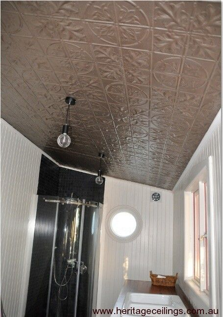 Pressed metal used on a bathroom ceiling.  The design is the Large Maple.