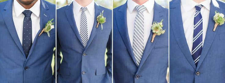 Slim Fit Light Heathered Navy Suits with Striped and Polka Dotted Tie Varieties. Light Navy Groomsmen Suits. A Veritas Vineyard & Winery Wedding in Charlottesville, Virginia Photos by Katelyn James Photography