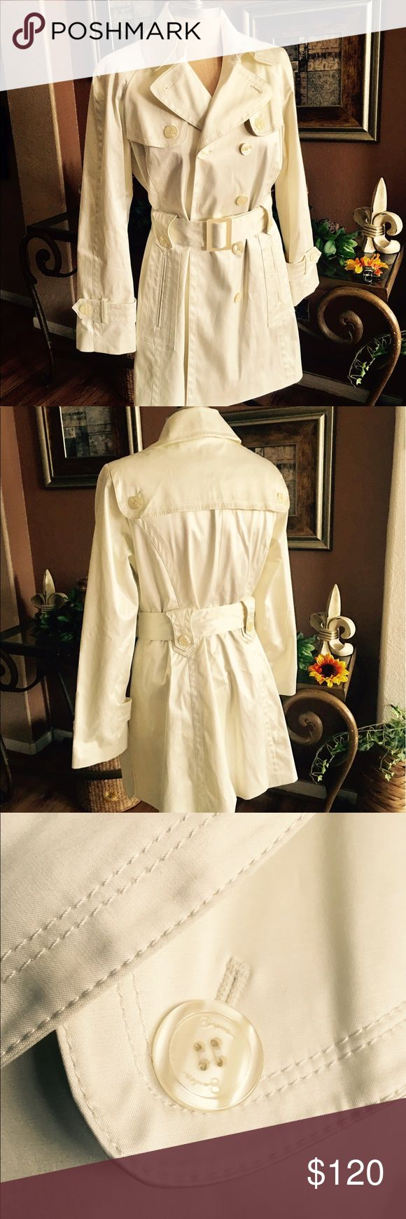 🎉Gorgeous🎉Jessica Simpson Butter Cream Coat Wow!!! What a beautiful buttercream coat! Full satin lining with the Jessica name engraved on the buttons. Excellent shape and nice weight. Very dressy. Fabulous look with any black pant set. Jessica Simpson Jackets & Coats Trench Coats