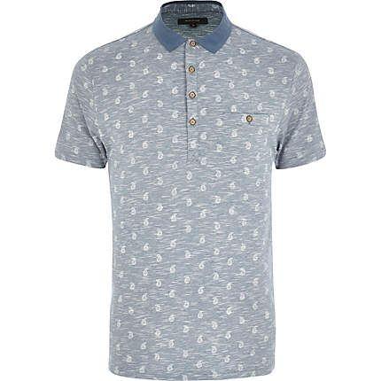 Light blue paisley print space dye polo shirt £22.00