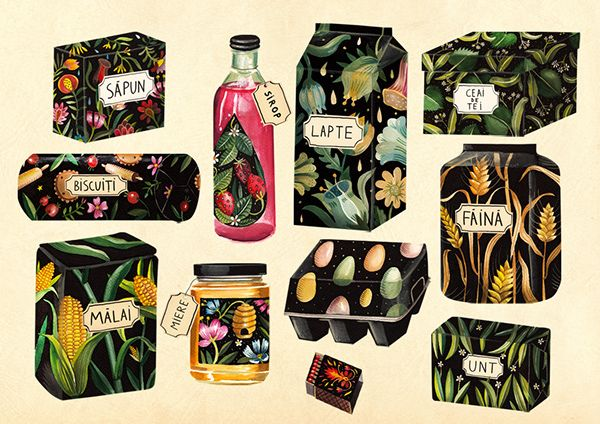 Packaging Illustrations by Aitch, via Behance