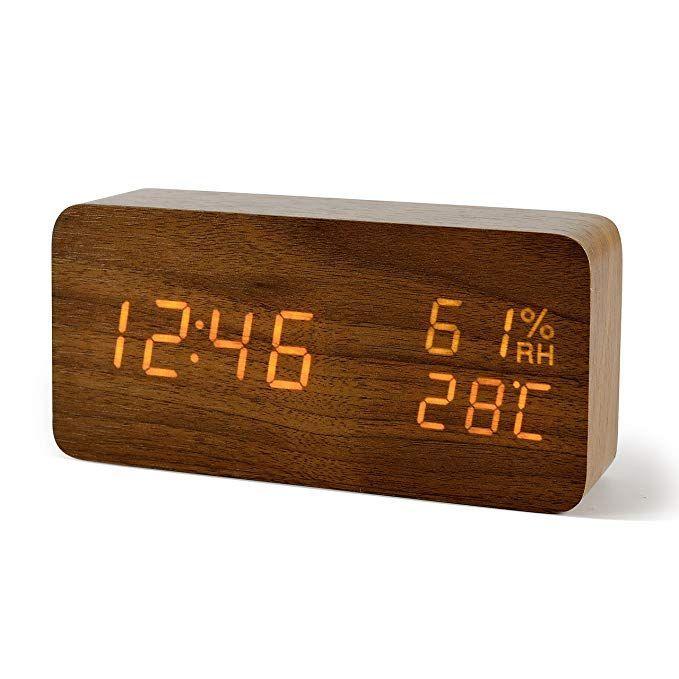 FiBisonic Alarm Clock with LED Digital Display,Wood Clock