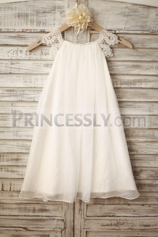 Lace Cap Sleeves Bobo Beach Ivory Chiffon Flower Girl Dress