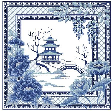 Cross-stitch pattern 'Pagoda' .This charming cross-stitch pattern is made in blue colors. It is excellent, is not it? East Pagoda in blue fog ... Make this embroidery is