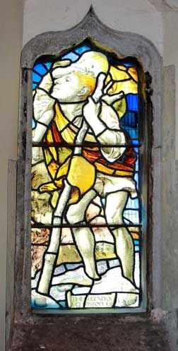 St Christopher stained glass window, by Max Balfour in 1902.