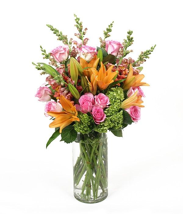 PlantShed.com | Hugs & Kisses | Flower Delivery NYC | Orange lilies, pink roses, green hydrangea and snapdragon.