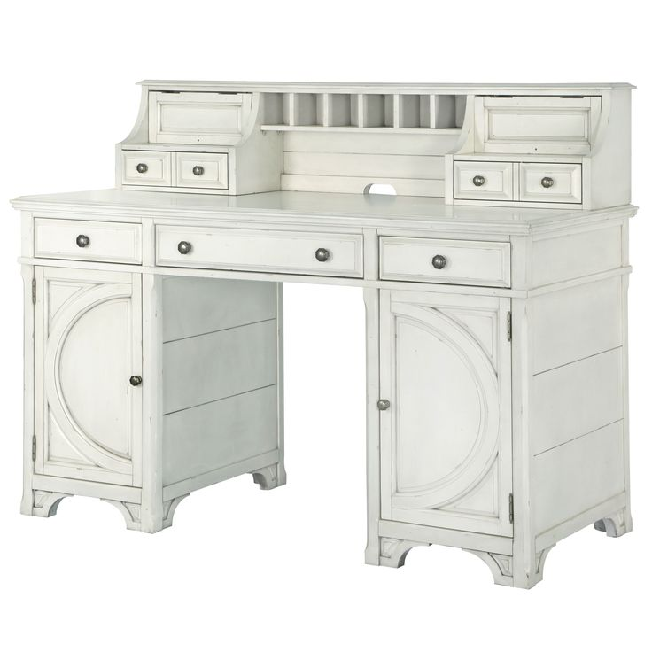 Magnussen Home Furnishings Hancock Park Counter Height Desk in Vintage White (Counter Height Desk - Vintage White), Beige Off-White