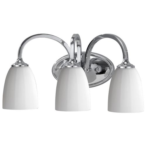 Modern Bathroom Light with White Glass in Brushed Steel Finish at Destination Lighting