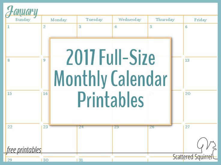 18 best Calender images on Pinterest Calendar 2017, Calendar for - printable monthly calendars
