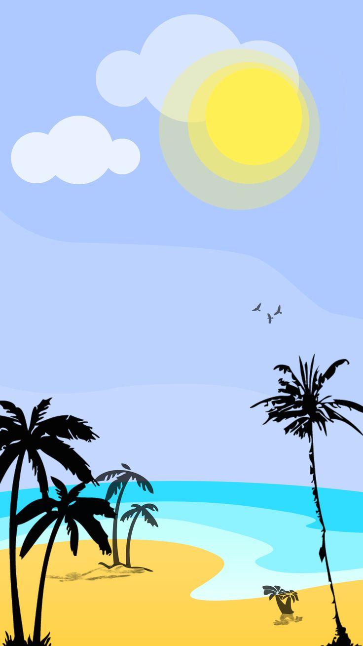 #beach #sun #palms #ocean #sea #birds #minimalist