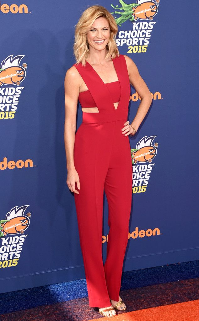 Erin Andrews from 2015 Kids' Choice Sports Awards Red Carpet Arrivals Red hot! The sportscaster rocks at jumpsuit at the Kids' Choice Sports Awards.