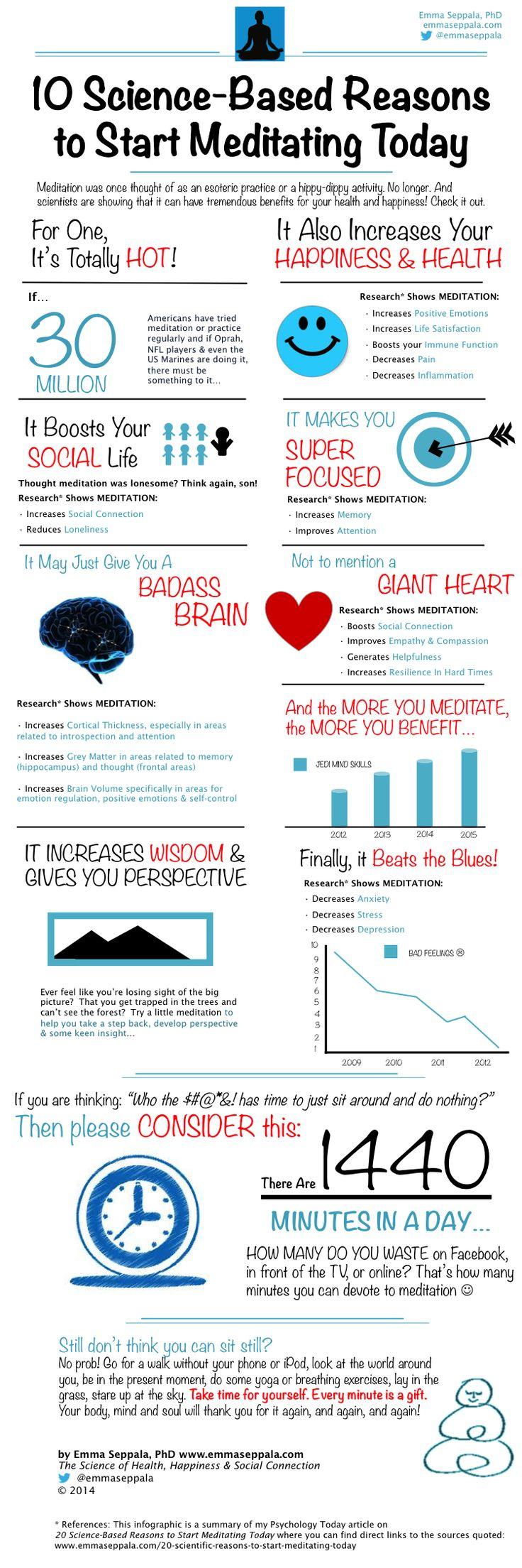 ~ 10 Scientifically Proven Health Benefits of Meditation [Infographic] ~  #start_meditating #meditate #meditation