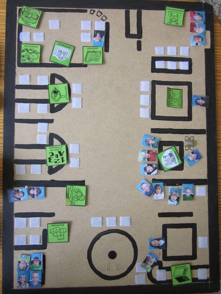 Keuzebord die de ruimtelijke oriëntatie stimuleert:  plattegrond kleuterklas