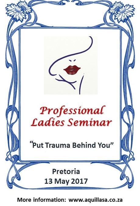 Understanding trauma in a professional lady's life.  In this boutique seminar Dr. Barbara Louw and her team look at trauma and healing from various perspectives in a beautiful 5-star venue. Topic include: Trauma in Life •	Understanding the trauma in a professional lady's life •	My personality when dealing with crisis and trauma •	Workplace Challenges Using my environment to heal Spiritual wellness and purpose
