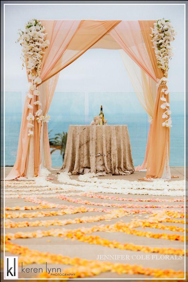 l'auberge ceremony - Stunning, Rich Ombre Wedding at LAuberge Del Mar jennifer cole florals