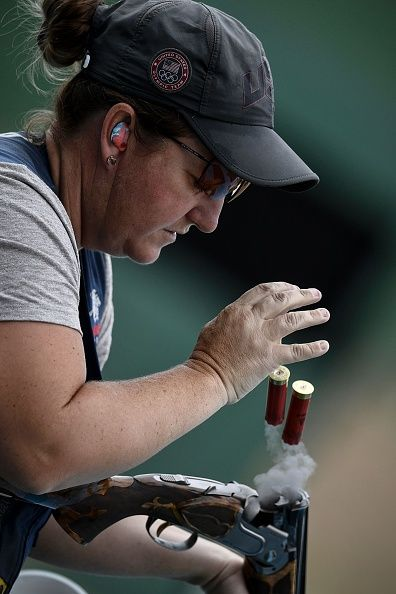 #RIO2016 Kim Rhode of the USA trains for the women's skeet at the Olympic Shooting Centre in Rio de Janeiro on August 4 ahead of the Rio 2016 Olympic Games /...