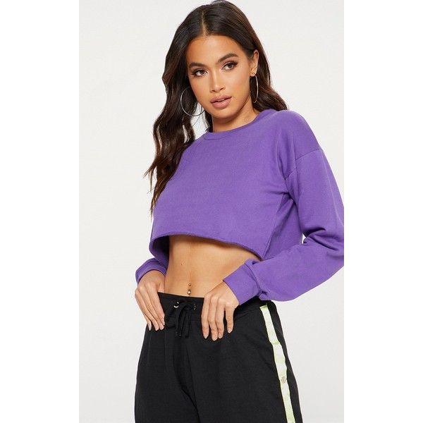 Purple Cut Off Crop Longsleeve Sweater ($16) ❤ liked on Polyvore featuring tops, sweaters, purple, long sleeve tops, cut off sweater, long sleeve crop top, purple top and purple sweater