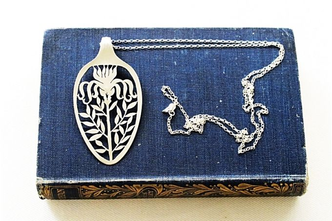 Statement eco Necklace Spoon Pendant botanical floral spoon pendant Victorian Iris Flower eco Art Spoon Pendant long sterling chain pendant ...