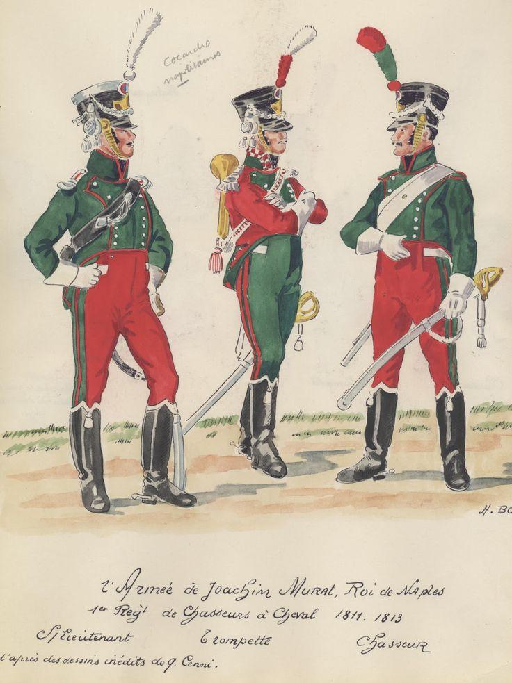 Sottotenente, tromba e cacciatore del 1 reggimento cacciatori del regno di Murat